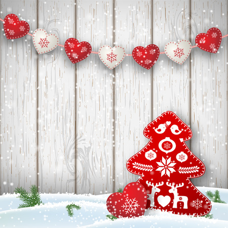 Ilustración de Christmas motive in scandinavian style, red and white decorations in shape of hearts and tree in front of white wooden wall, vector illustration - Imagen libre de derechos