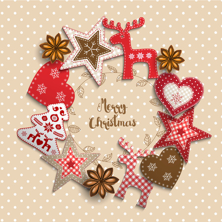 Illustration pour Christmas background, small scandinavian styled red decorations lying on beige polka dotted backdrop, inspired by flat lay style, with text Merry christmas, framed by abstract leaf wreath, vector illustration - image libre de droit