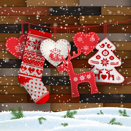 Illustration pour Group of hanging Christmas decorations in Scandinavian style in front of wooden wall, includes hearts, deer, tree and Santa's stocking, vector illustration, eps 10 with transparency and gradient meshes - image libre de droit