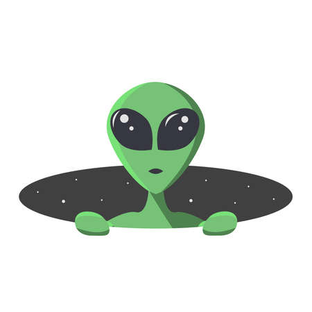 Ilustración de Green alien climbs out from the hole of space with stars. Extraterrestrial in flat cartoon style for t-shirt, print or textile.  Vector illustration. - Imagen libre de derechos