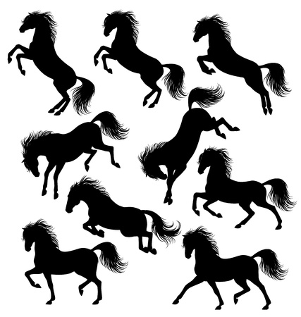 Set of a moving horse silhouettes isolated on white
