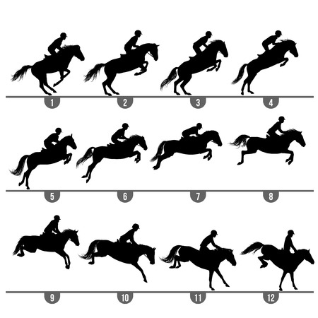 Illustration for Set of 12 jumping horse phases silhouettes - Royalty Free Image