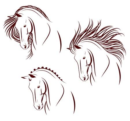 Illustration pour Set of 3 differently stylized horse heads - image libre de droit