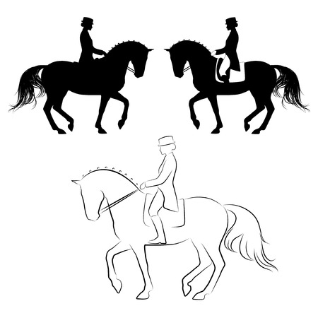 Illustration pour Set of 3 silhouettes of dressage horse with rider performing piaffe - image libre de droit