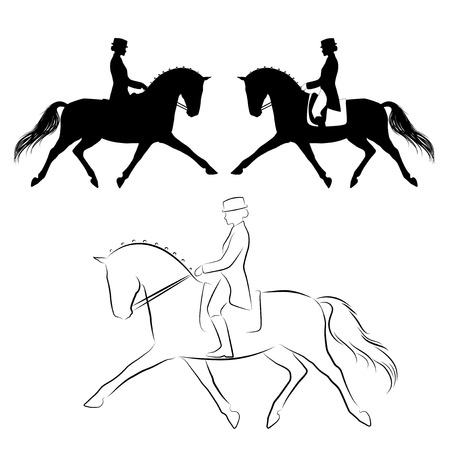 Illustration pour Set of three variations of dressage  horse with rider performing extended trot - image libre de droit