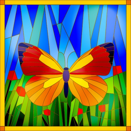 Illustration for Colorful stained glass butterfly on sky and grass background - Royalty Free Image