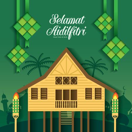 Illustration for Selamat Hari Raya Aidilfitri vector illustration with traditional malay village house / Kampung. Caption: Fasting Day of Celebration - Royalty Free Image