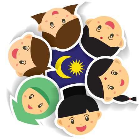 Illustration pour Malaysia National / Independence Day illustration. Cute cartoon character kids of Malay, Indian & Chinese hand in hand with Malaysia flag icon. 31 August, Merdeka. - image libre de droit