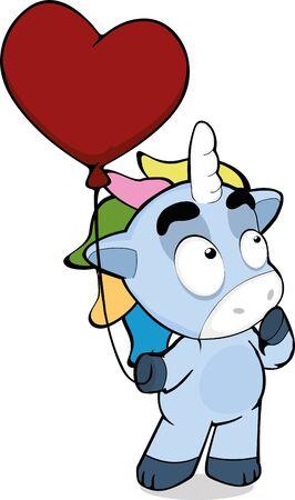 Ilustración de vector illustration of a unicorn with a globe in a hand - Imagen libre de derechos