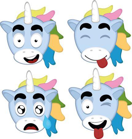 Ilustración de Vector illustration of expressions of a unicorn cartoon - Imagen libre de derechos