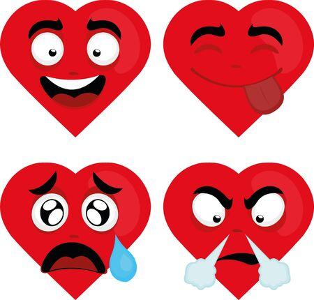 Ilustración de Vector illustration of expressions of a cartoon heart - Imagen libre de derechos