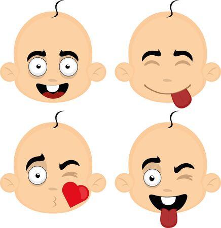 Ilustración de Vector illustration of expressions of a baby's face cartoon - Imagen libre de derechos