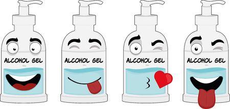 Ilustración de Vector illustration of expressions of a cartoon bottle of alcohol gel - Imagen libre de derechos