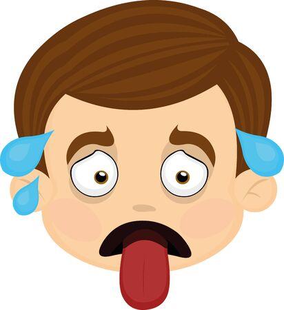 Ilustración de Vector illustration of expressions of a boy cartoon - Imagen libre de derechos