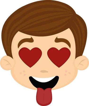 Ilustración de vector illustration of a cartoon boy's face, in love - Imagen libre de derechos