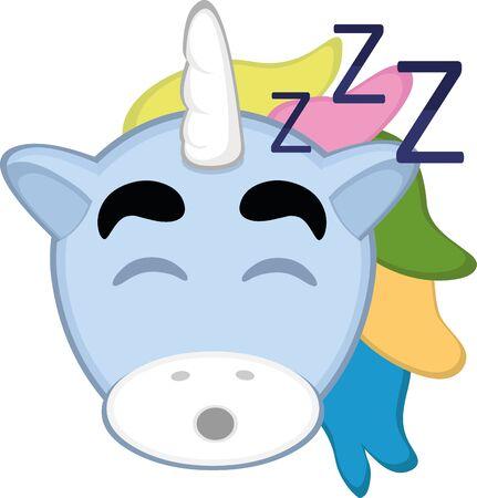 Ilustración de Vector illustration of a cartoon unicorn face sleeping - Imagen libre de derechos