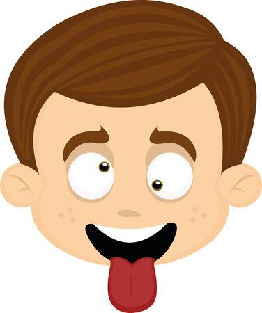 Ilustración de Vector illustration of a cartoon boy's face, playing the fool - Imagen libre de derechos