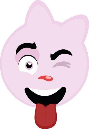 Ilustración de Vector illustration of the face of a cartoon pink cat, winking - Imagen libre de derechos