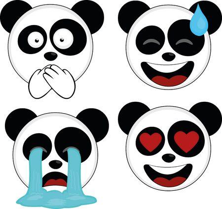 Ilustración de vector illustration of expressions of a panda bear cartoon - Imagen libre de derechos