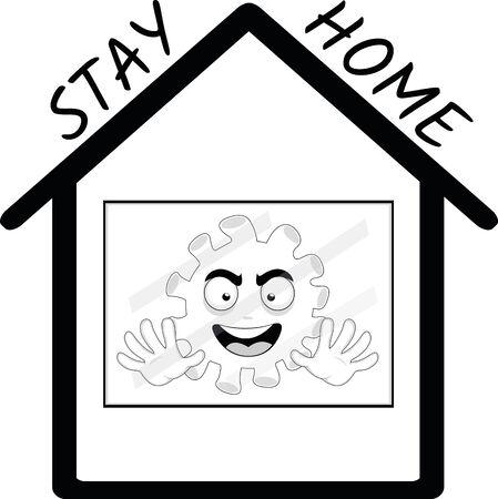 Ilustración de Vector illustration of the concept of staying at home, against the coronavirus - Imagen libre de derechos