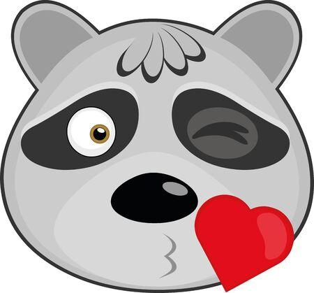 Ilustración de Vector illustration of the face of a cartoon raccoon giving a kiss - Imagen libre de derechos