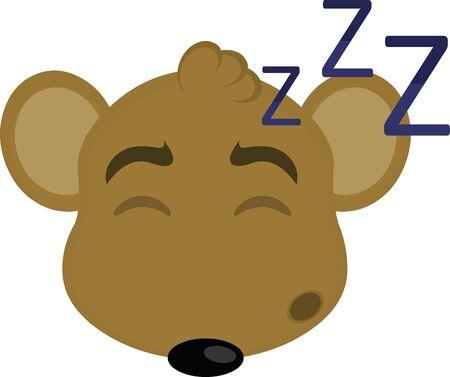 Ilustración de Vector illustration of the face of a cartoon mouse sleeping - Imagen libre de derechos