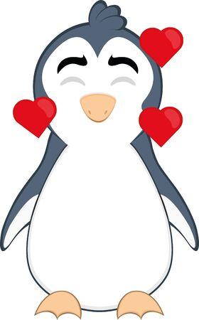 Ilustración de Vector illustration of a cartoon penguin in love - Imagen libre de derechos
