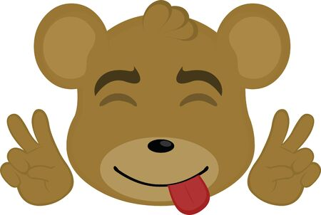 Ilustración de Vector illustration of a cartoon bear face making the peace and love sign - Imagen libre de derechos