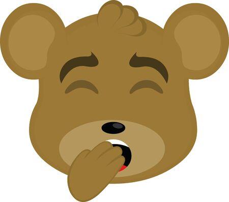 Ilustración de Vector illustration of a bear face cartoon yawning - Imagen libre de derechos