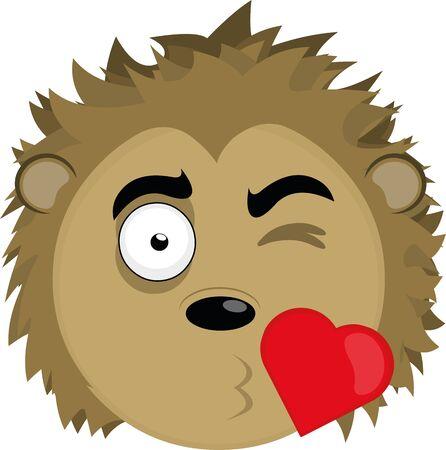 Ilustración de Vector illustration of a cartoon porcupine's face in love - Imagen libre de derechos