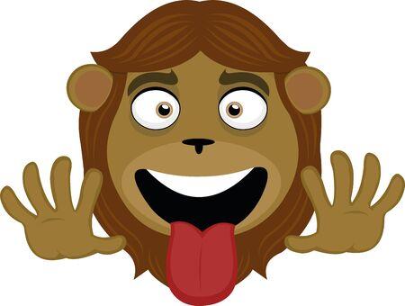 Ilustración de Vector illustration of the face of a funny lion cartoon - Imagen libre de derechos