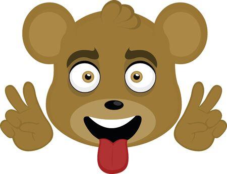 Ilustración de Vector illustration of the face of a cute bear cartoon - Imagen libre de derechos