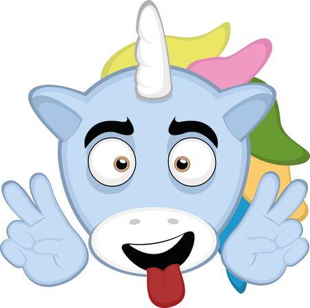 Ilustración de Vector illustration of the face of a unicorn cartoon - Imagen libre de derechos
