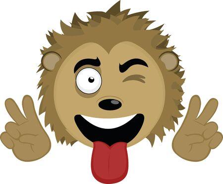 Ilustración de Vector illustration of the face of a cute porcupine cartoon - Imagen libre de derechos