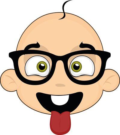 Ilustración de Vector illustration of the face of a cute baby cartoon with glasses - Imagen libre de derechos