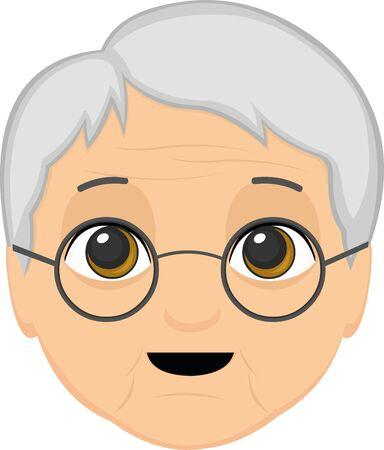 Ilustración de Vector illustration of a grandmother's face cartoon - Imagen libre de derechos