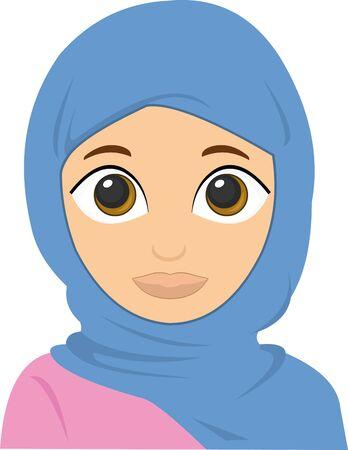 Ilustración de Vector illustration of the face of an Islamic woman - Imagen libre de derechos