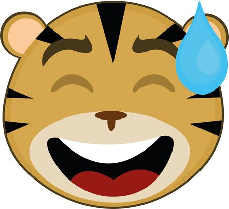 Ilustración de Vector illustration of the face of a cute tiger cartoon - Imagen libre de derechos