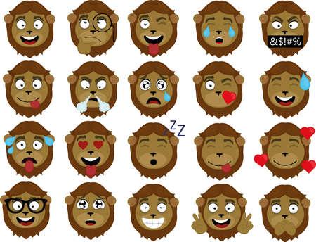 Ilustración de Vector illustration of a lion's face expressions cartoon - Imagen libre de derechos