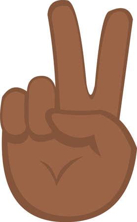 Ilustración de Vector illustration of hand emoticon, concept peace and victory - Imagen libre de derechos