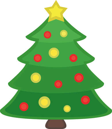 Ilustración de Vector emoticon illustration of a Christmas tree - Imagen libre de derechos