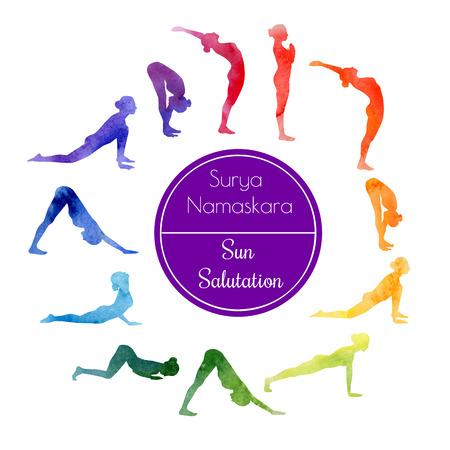 Ilustración de watercolor illustration of yoga exercise - Imagen libre de derechos