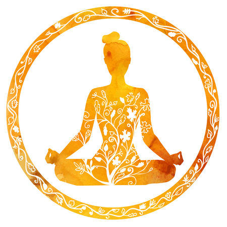 Illustration pour Vector silhouette of yoga woman in circle frame with bright orange texture and floral ornament. Autumn colors and tree leaves decoration. Lotus pose - Padmasana. - image libre de droit