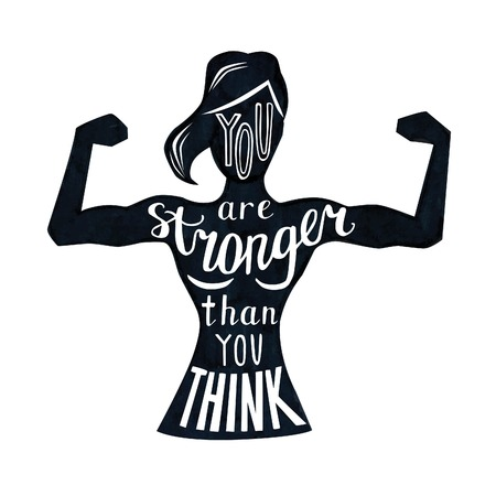 Illustration pour Vector illustration with female figure and lettering in black and white. Hand written phrase You are stronger than you think. Typography design with isolated silhouette of slim woman with biceps curls - image libre de droit