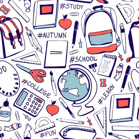 Illustration for Vector seamless pattern Back to school. Hand drawn doodle school supplies and handwritten hashtags in blue and red colors on white background. Print, backdrop, wallpaper, wrapping paper design. - Royalty Free Image