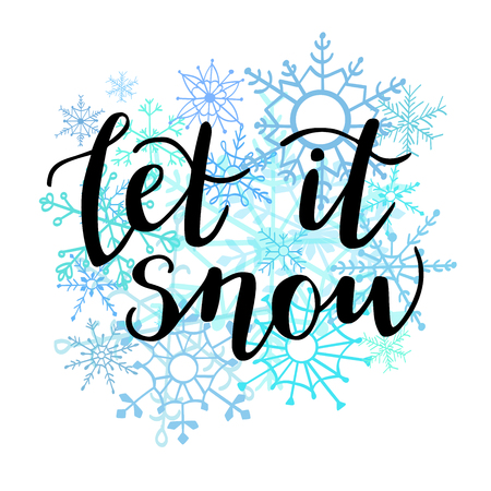 Illustration for Let it snow. Vector illustration with hand lettering. Modern brush pen calligraphy on hand drawn doodle snowflakes on white background. Seasonal print, poster, card design. - Royalty Free Image