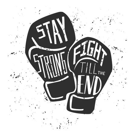 Ilustración de Vector card and poster with black silhouette of boxing gloves and white hand written. Illustration with lettering and grunge texture. - Imagen libre de derechos