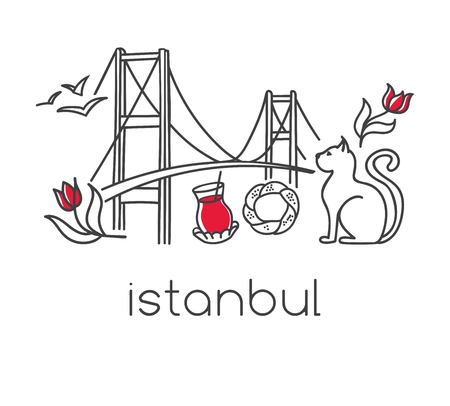 Ilustración de Modern vector illustration Istanbul with hand drawn doodle turkish symbols: the bridge, tea glass, bagel simit, seagull, tulip and a cat Simple minimalistic design with black outline isolated on white - Imagen libre de derechos