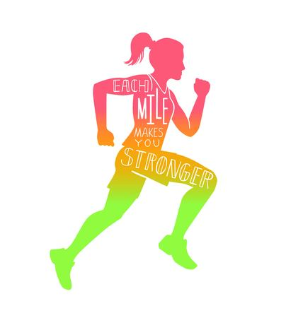 Ilustración de Each mile makes you stronger. Vector lettering illustration with a running woman. Female silhouette, hand written inspirational quote and colorful gradient. Motivational card, poster, print design - Imagen libre de derechos