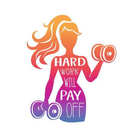 Ilustración de Hard work will pay off. Vector fitness illustration with motivational phrase. Female silhouette with dumbbells in colorful gradient with hand lettering. Inspirational card, poster or print design. - Imagen libre de derechos